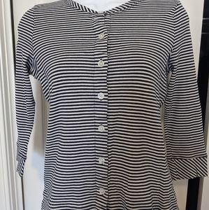 Talbot's striped 3/4 sleeve blouse